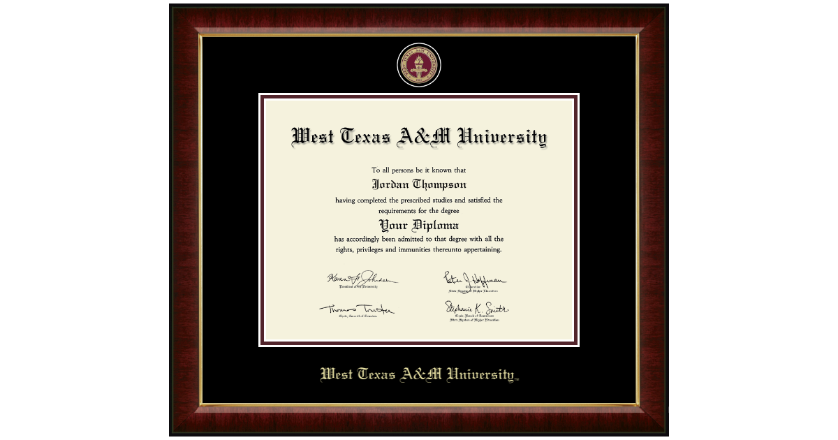 West Texas A&M University Masterpiece Medallion Diploma Frame in ...