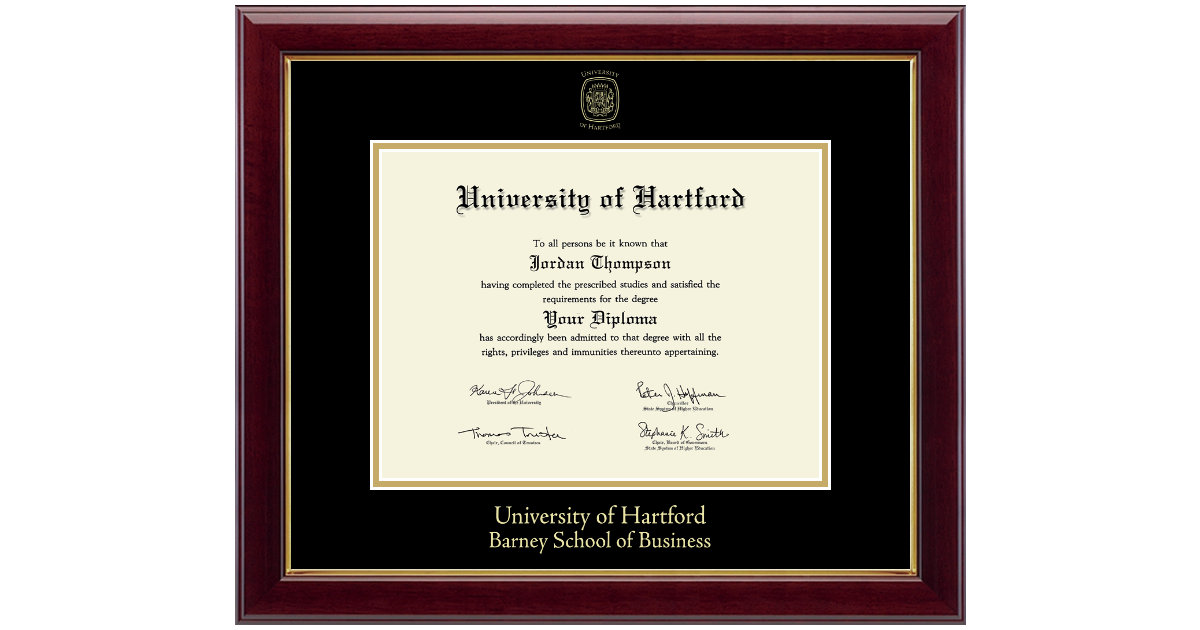 University of Hartford Gold Embossed Diploma Frame in Gallery - Item ...