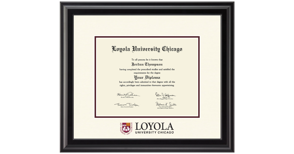 Loyola University Chicago Dimensions Diploma Frame In