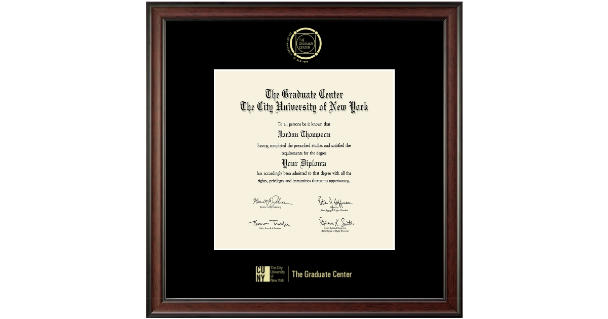 Cuny The Graduate Center Gold Embossed Diploma Frame In