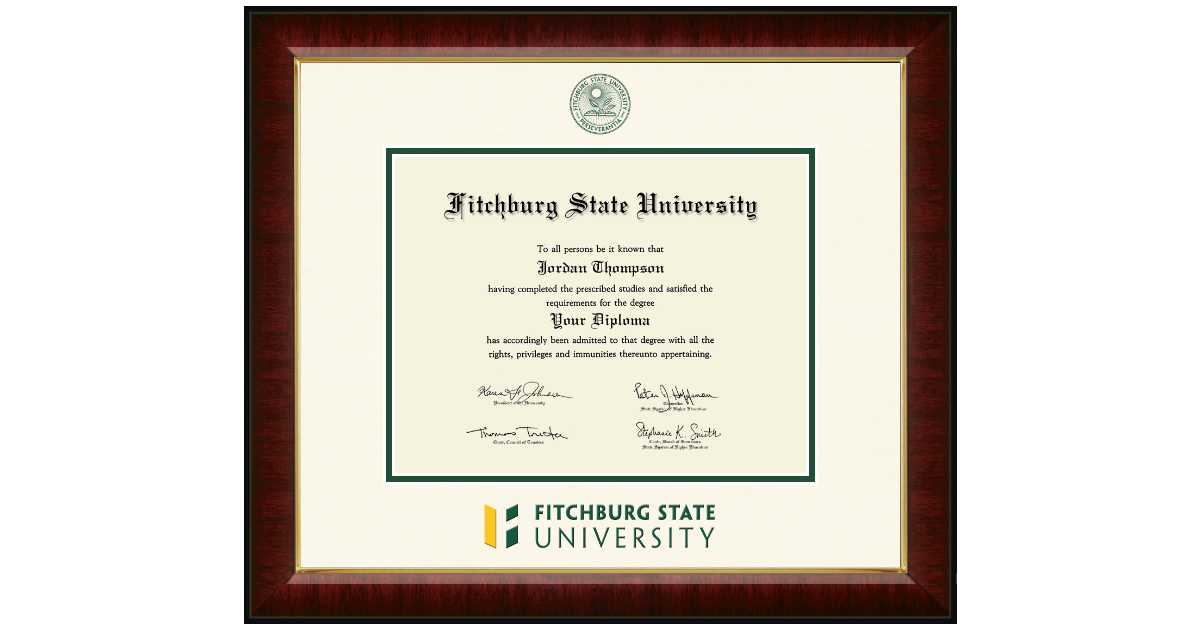 Fitchburg State University Dimensions Diploma Frame In