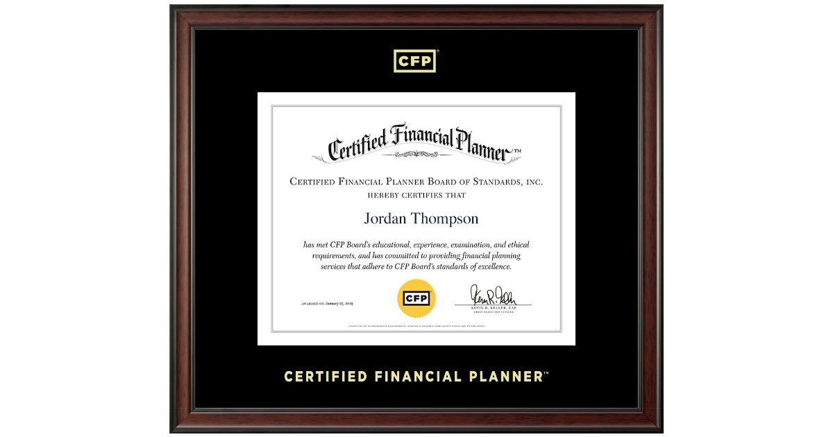 Certified Financial Planner Gold Embossed Certificate