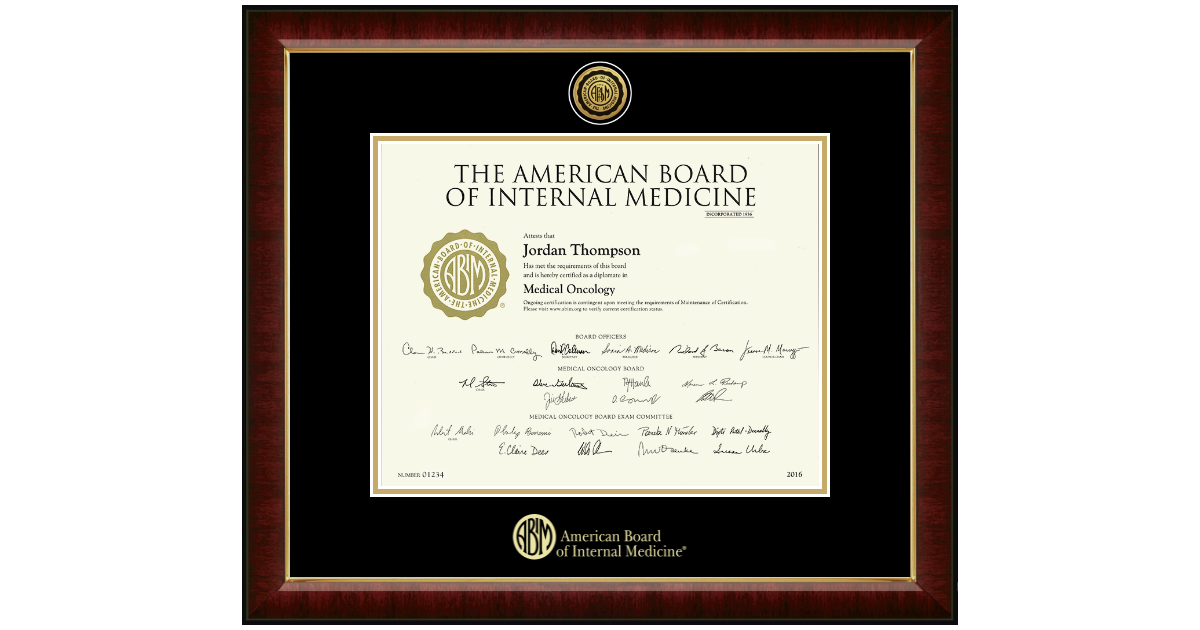 American Board Of Internal Medicine Gold Engraved