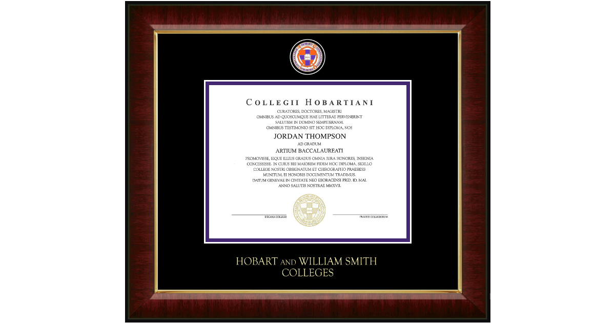 Hobart College Masterpiece Medallion Diploma Frame In Murano Item
