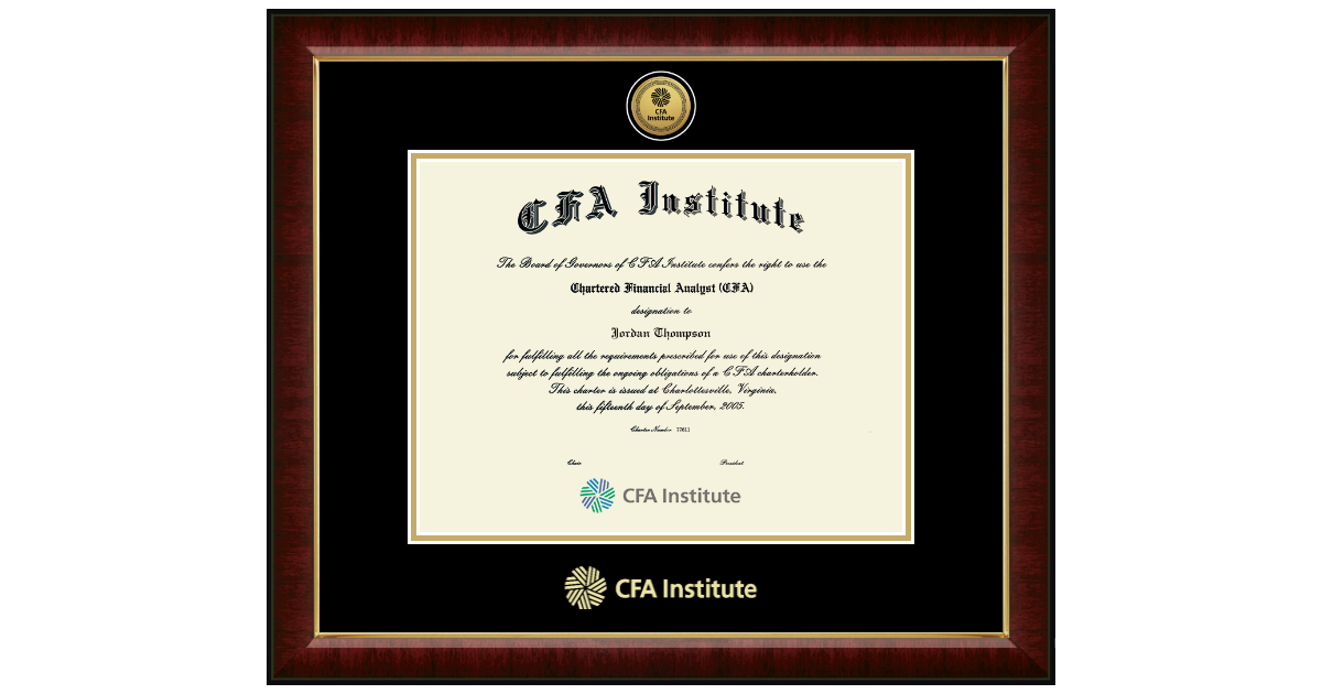 cfa certificate diploma frame institute financial analyst chartered frames gold framing