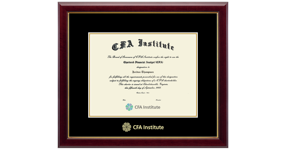 Certified Financial Analyst Gold Embossed Certificate Frame In