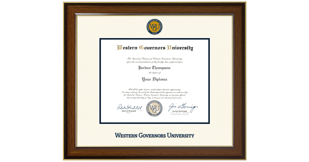 western governors university dimensions diploma frame in