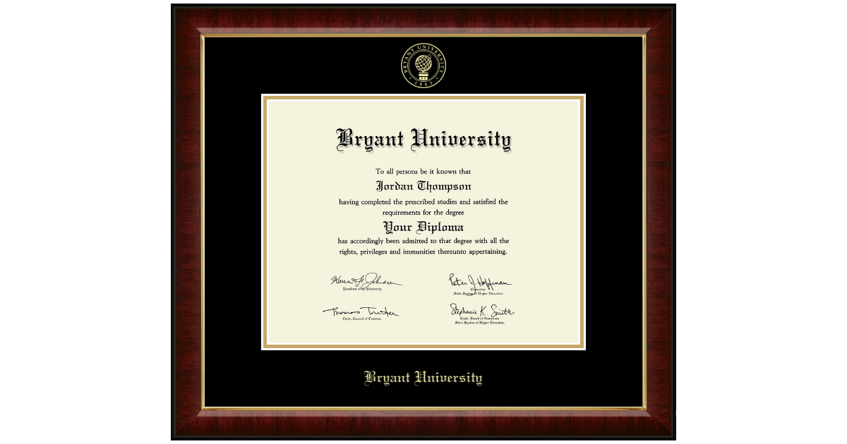 Features Solid Hardwood Gallery Moulding Church Hill Classics Bryant University Gold Embossed Diploma Frame Officially Licensed 11 h x 14 w Diploma Size